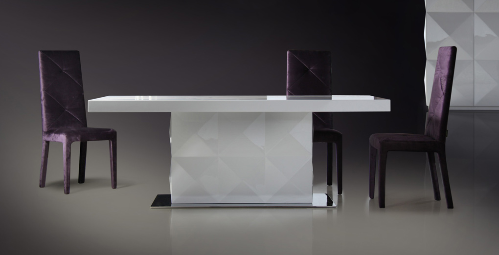 White Lacquer Dining Table : Eva – White Lacquer Modern Dining Table  Black Design Co